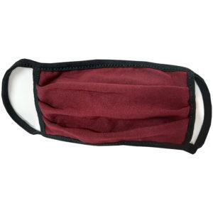Μάσκα προσώπου βαμβακερή πλενόμενη μπορντό μαύρη 1 τεμάχιο