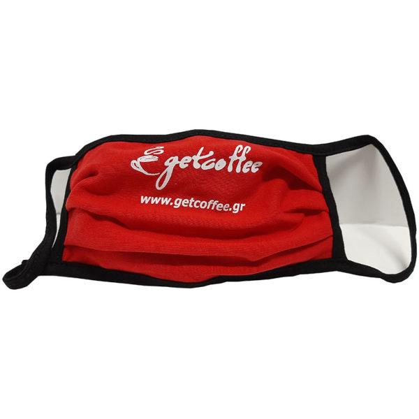 Μάσκα προσώπου βαμβακερή πλενόμενη κόκκινη Getcoffee 1 τεμάχιο