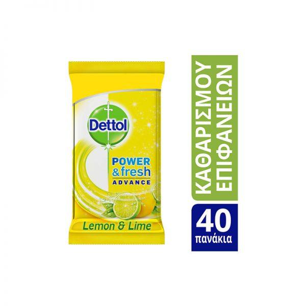 Dettol Αντιβακτηριδιακά Μαντηλάκια Lemon & Lime