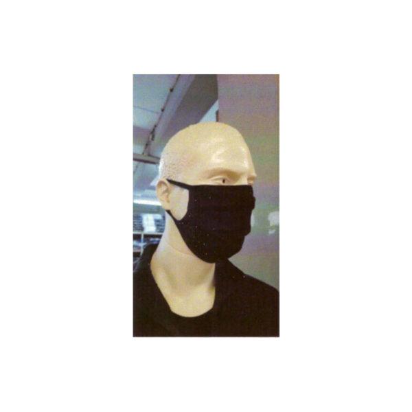 Μάσκα προσώπου βαμβακερή πλενόμενη μαύρη με πρόσωπο να τη φοράει