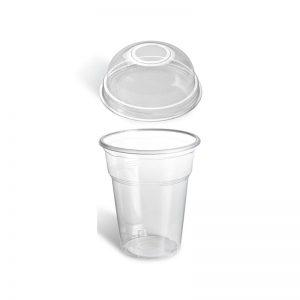 Πλαστικά Ποτήρια με καπάκια – 300ml θόλος dome n.70