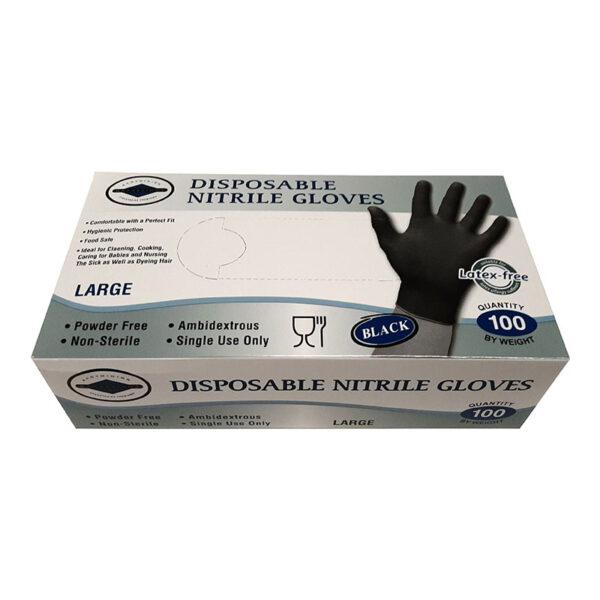 Γάντια Νιτριλίου μαύρα Large 100 τεμάχια