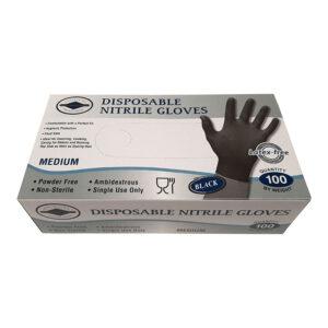 Γάντια Νιτριλίου μαύρα Medium 100 τεμάχια