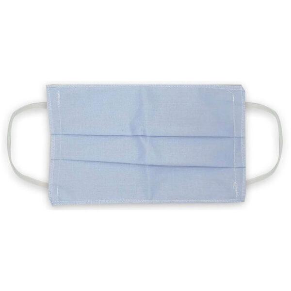 Μάσκα προσώπου βαμβακερή πλενόμενη γαλάζιο λάστιχο