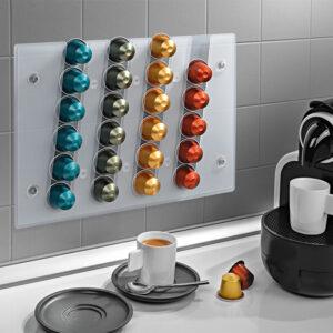 Επιτοίχια θήκη για 24 Κάψουλες Nespresso με μηχανή δίπλα